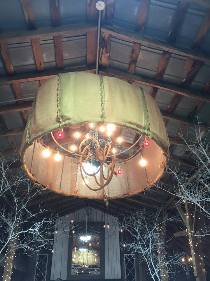 Chandelier inside Barn